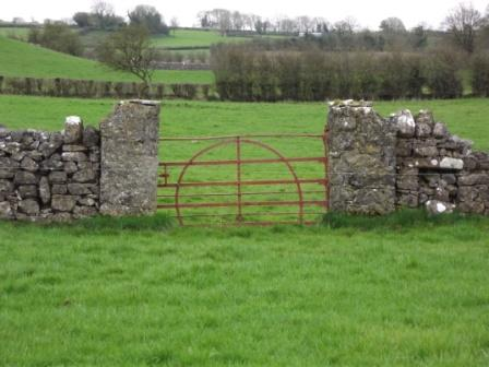 24 - MH08BALY043 - Forge made Gate Stone piers walls  filled in sheepgap at Ballymacad Oldcastle photo by Michael Gammell
